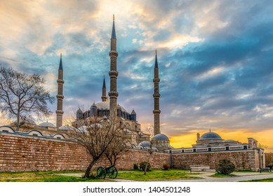 Mosque view in Edirne City of Turkey. Edirne was capital of Ottoman Empire.