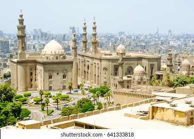 The Mosque-Madrassa of Sultan Hassan located near the Saladin Citadel in Cairo, Egypt.