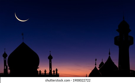 Mosques dome on dark blue twilight sky and crescent moon on background, symbol islamic religion and free space background well for text arabic present.