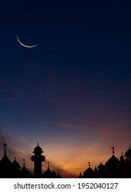 Mosques Dome on dark blue twilight sky and Crescent Moon on background Vertical, symbol islamic religion Ramadan and free space for text arabic, Eid al-Adha, Eid al-fitr, New Years Muharram
