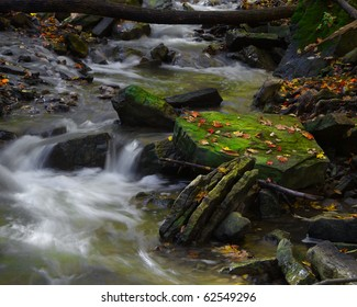 Moss covered rock catching sunlight in middle of stream