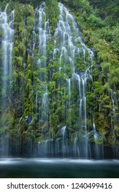 Mossbrae Falls - delicate water falls over moss covered cliff