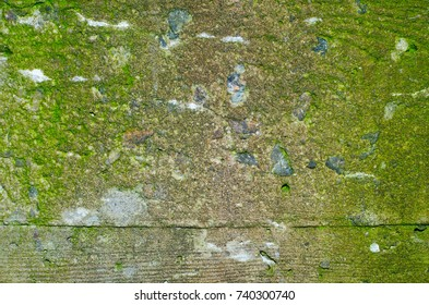 A mossy concrete texture with some blue gravel stones and an imprint of a wooden framework with noticeable bulging seam.