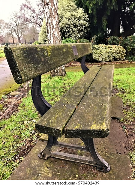 Awe Inspiring Mossy Green Black Wooden Park Bench Stock Photo Edit Now Bralicious Painted Fabric Chair Ideas Braliciousco