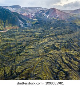 Mossy Landmannalaugar from aerial view, Iceland