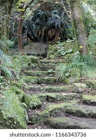 Mossy steps at Sengan-en gardens in Kagoshima, Japan