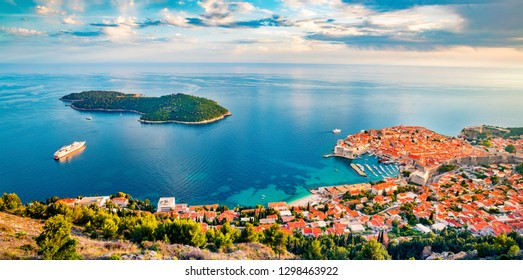 Most amazing views of Dubrovnik city possible to see when climbing to the Fort Imperial. Colorful summer scene of Croatia, Europe. Beautiful world of Mediterranean countries.