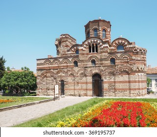 The most ancient stone Christian church. Archaeological object on the street of the old city. Europe, Bulgaria, Nessebar