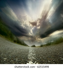 Most asphalt road. Diagonal framing
