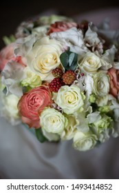 The most beautiful bouquet of flowers from anemone rose Ranunculus mattiola Tulip eucalyptus Narcissus for a wedding or holiday in a flower shop