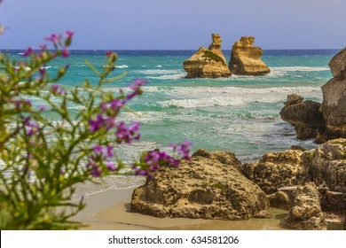 The most beautiful coast of Apulia: Torre Dell'Orso Bay, ITALY (Lecce).Typical seascape of  adriatic coastline of Salento: view of the two faraglions called The Two Sisters (or Due Sorelle).