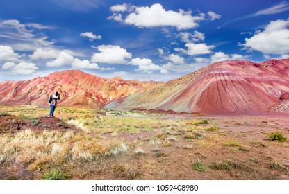 The most beautiful colorful mountain and spectacular blue sky in Tabriz Iran.Similar colorful mountains in China and Peru.