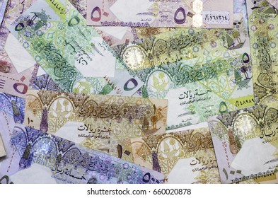 The most beautiful with colorful texture and background of Qatar currency banknotes,money from middle east