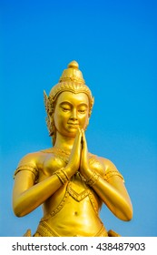 Most beautiful of golden angle,buddha with clear blue sky in the temple at thailand,copy space