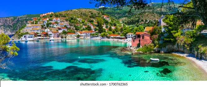 Most beautiful greek coastal villages - colorful Assos in Cefalonia Ionian island of Greece