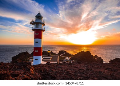 The most beautiful lighthouse you can see in the Canary Islands. Punta de Teno in a beautiful sunset