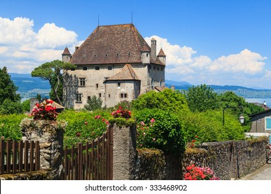 Most beautiful medieval village in south-east France Yvoire, ancient lake side castle