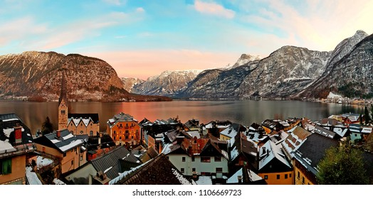 The most beautiful panoramic view of the hallstatt village. The alpine mountains, the hallstatt lake and the wonderful colors. Austria