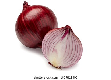 The most beautiful red sliced onion isolated on white background. And one onion have cut and other have bulb. - Shutterstock ID 1939811302