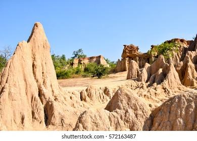 "The most beautiful sandstone pillars ""Sao Din Na Noi"" at Sri Nan national park , Nan Province, Thailand."