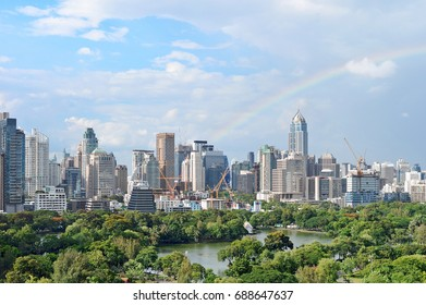 The most beautiful scene of Bangkok city. Building business district in the heart of Bangkok, Thailand, Rainbow is appeared over city skyline in Bangkok.
