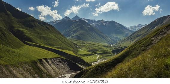 The most beautiful valley on Omalo Shatili trek. In georgian Caucasus.