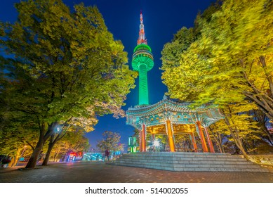 The most beautiful view of Seoul Tower at night in Korea.