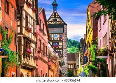 "Most beautiful villages of France - Riquewihr in Alsace. Famous vine route and tourist "" romantic road"""