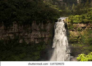 It is the most beautiful waterfall on the outskirts of Bogota. Its name is El salto de tequendama and it has a lot of history