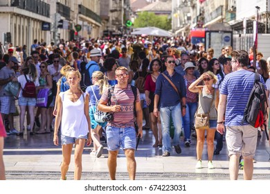 Most busy street in Lisbon - the popular pedestrian zone of Augusta Street - LISBON / PORTUGAL - JUNE 15, 2017