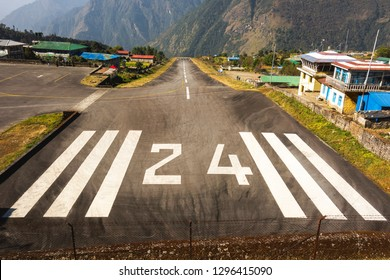 Most Dangerous Airport in the World - Looking at Runway 24 of Tenzing-Hillary Airport in Lukla, Nepal
