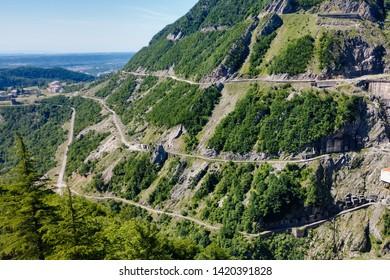Most dangerous road in the world,Georgia, Europe.Spectacular and dangerous mountain road. Adventure concept. serpentine road in Georgia millitary road near Gadauri