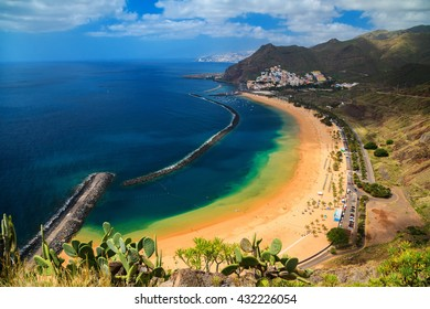 the most famous beach near Santa Cruz de Tenerife - Playa de Las Teresitas, Canary Islands, Spain