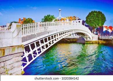 """The most famous bridge in Dublin called """"Half penny bridge"""" due to the toll charged for the passage - Artistic version with brushs trokes effect"""