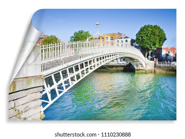 """The most famous bridge in Dublin called """"Half penny bridge"""" due to the toll charged for the passage - curl and shadow design"""