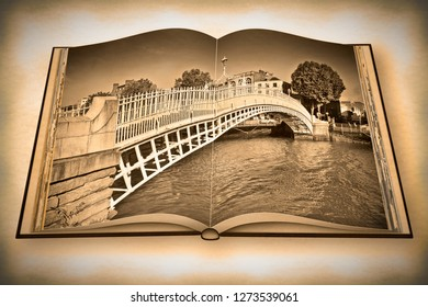 The most famous bridge in Dublin called Half penny bridge - Vintage and Retro Photo Effects added - 3D rendering opened photo book