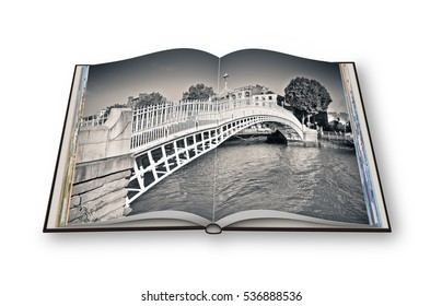 "The most famous bridge in Dublin called ""Half penny bridge"" due to the toll charged for the passage - 3D render opened photo book isolated on white background"