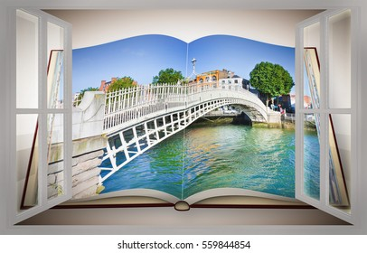 "The most famous bridge in Dublin called ""Half penny bridge"" due to the toll charged for the passage seen from a window - 3D render opened photo book isolated on white background"