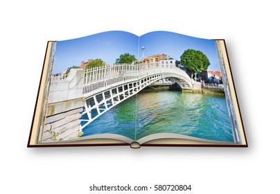 "The most famous bridge in Dublin called ""Half penny bridge"" - 3D render opened photo book isolated on white background"