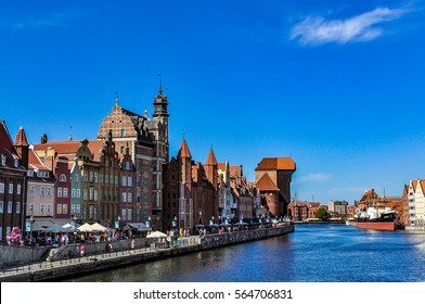 The most famous cityscape of Gdansk with the historic crane, Poland