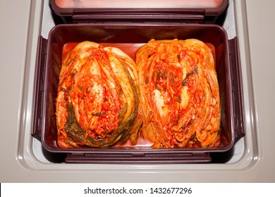 The most famous Korean traditional food Kimchi(napa cabbage) stored in Kimchi refrigerator.