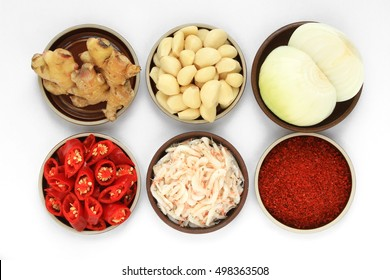 The most famous Korean traditional food Kimchi ingredients. Ginger, garlic, onion, red pepper, salted shrimp, red pepper powder.