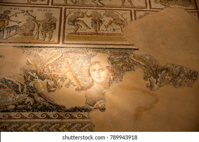 """The most famous Roman mosaic image of a young woman, possibly Venus, which has been dubbed the """"Mona Lisa of the Galilee"""", Zippori Archaeological National Park, Galilee, Israel."""