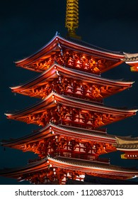 Most famous temple in Tokyo - Senso-Ji temple at night - TOKYO / JAPAN - JUNE 12, 2018