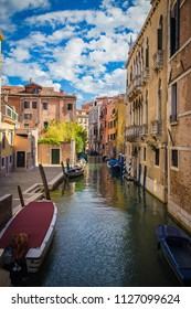 The most famous in the world, the Venetian channel with Gondola. Thousands of houses with water around them,