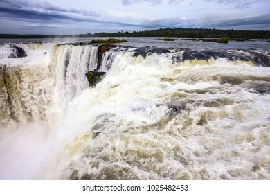 The most full-flowing waterfall in the world on the Parana River is the Devil's throat /Garganta del Diablo/. Concept of active and ecological tourism