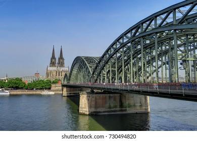 Most heavily used railway bridge in Germany, connecting the Koeln Hauptbahnhof and Koeln Messe/Deutz stations.