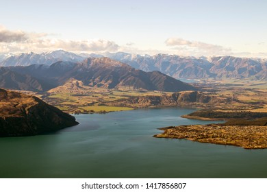 The most hiked in Wanaka, New Zealand. View from the top of Roy's Peak with lake foreground.