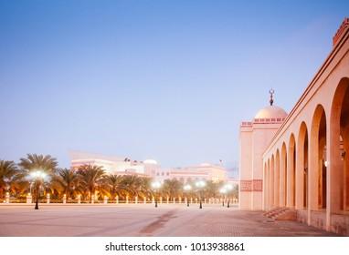 Most iconic Al Fateh grand mosque in evening.  Manama, Bahrain