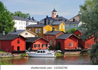 The most known part of Porvoo old town is the warehouses above river Porvoonjoki, Finland